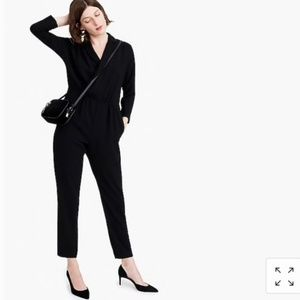 J.Crew 365 Black Lapel Jumpsuit In Everyday Crepe